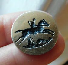 Antique collectible sterling picture button w/horse rider w/bow & arrow