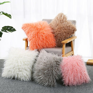 Square Soft Fur Fluffy Sofa Pad Bed Pillow Case Throw Plush Shaggy Cushion Cover