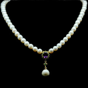 NATURAL WHITE  BARQUE WITH ROUND PEARL, AMETHYST & PERIDOT 925 SILVER NECKLACE