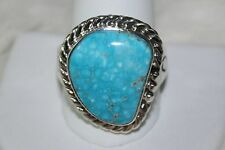 Signed Pueblo Sterling Silver Kingman Turquoise Men's Ring