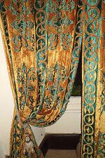 """8ft6""""x7ft6"""" 2 mravl francese Persiano Fiori Blu posati su oro foderato in velluto antico"""