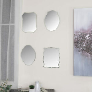 Set of 4 Frameless Wall Mirrors vintage shabby chic art deco gallery decorative