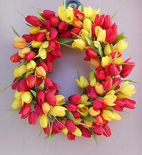 "17"" Red Orange Yellow Tulip Floral Spring Easter Grapevine Door Wreath"
