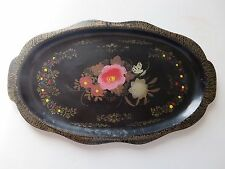 """Vintage Paper Mache Tole Tray Hand Painted Excellent condition 16.5"""" x 9.5"""""""