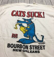 90s VTG nos BAD DOG SPORTSWEAR CATS SUCK New Orleans Tourist Funny T Shirt XL