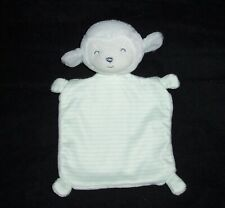 Carters Precious Firsts White Lamb Blanket Green Stripe Security Lovey