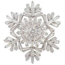 CRYSTAL WHITE CHRISTMAS SNOWFLAKE BROOCH PENDANT MADE WITH SWAROVSKI ELEMENTS