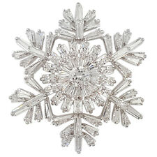 CRYSTAL WHITE SILVER CHRISTMAS SNOWFLAKE BROOCH PIN MADE WITH SWAROVSKI ELEMENTS