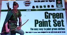q ANDREA COLOR ACS.09 - Set 6 Colori Acrilici - GREEN PAINT SET (matt finish)