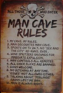 MAN CAVE RULES  Rustic Metal Sign Vintage Tin Shed Garage Bar Man Cave Wall