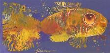 """Lindo Pequeño Pescado/original al óleo sobre cartón por S. hahonin 9.8"""" X 4.7""""/25x12 Cm"""