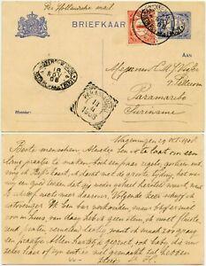 NETHERLANDS to SURINAME DWI 1908 UPRATED STATIONERY MARITIME SHIP OVAL POSTMARKS