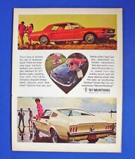 Ford MUSTANG Vintage 1967 Color AD Convertible FASTBACK Hardtop CAR Advertisemnt