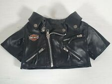 Build A Bear Official Harley Davidson Jacket Faux Leather Black Motorcycle Coat