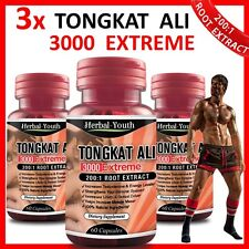 3 x TONGKAT ALI 3000 EXTREME ◆ 200:1 ROOT EXTRACT ◆ LONGJACK PASAK BUMI CAPSULES