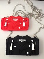 Moschino iPhone 6 6S 6Plus 6sPluS Jacket Case With Chain/Black Red-New In Box