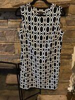 AB Studio Womens Black & White Abstract Print Sleeveless Dress Size 12 Polyester