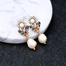 ed01507c New Style Pearl Crystal Flowers Simple Free Drop Earrings For Girls
