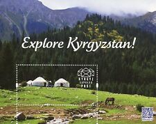 Kyrgyz Express Post KEP Explore Kyrgyzstan Promotional Stamp M/S Horses Yurts