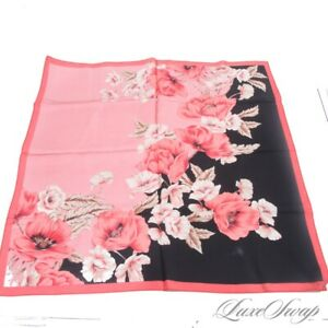 Anonymous Hot Pink Coral Black Maxi Floral Tropical Foulard Twill Carre Scarf NR