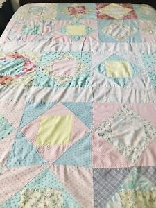 Homemade Patchwork Quilt - 75x80 - Florals Pink Multi Color