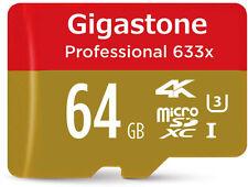 Gigastone 64GB Micro SD Card Professional 4K Ultra HD, Micro SDXC U3 C10 Class