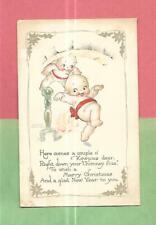 Adorable KEWPIES, FIREPLACE, A/S ROSE O'NEILL Vintage Unused CHRISTMAS Postcard