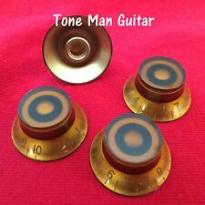 Amber Top Hat Bell Knobs Fits Coarse Spline Potentiometers - LP and others