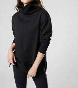 ATHLETA Black 24/7 Funnel Neck Sweatshirt Cozy Warm Pullover Sweatshirt Medium