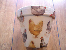 Hand Painted+Decoupaged Flower Pots 11cm(Terracotta) Emma Bridgewater Chickens 3