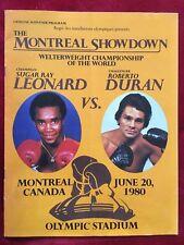 VINTAGE ORIGINAL SUGAR RAY LEONARD VS ROBERTO DURAN ON SITE PROGRAMME 1980!!