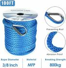 38 Inch 100 Ft Premium Solid Braid Mfp Dock Anchor Ropeline With Thimble Blue