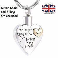 Nan Grandma Keepsake Heart Cremation Urn Pendant Ashes Necklace Funeral Memorial