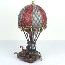 "Steampunk Hot Air Balloon Bronze Figurine Miniature Statue 10""H New in Box"