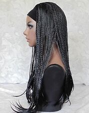 Excellent Long Jet Black Braided 3/4 HEADBAND Wig - 13339