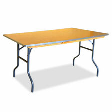 Event Party 4' Folding Table Commercial Rectangular Banquet Wooden Dining Table