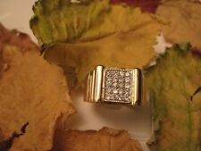 BAGUE HOMME PL/OR 14 K SERTIE DIAMANTS cz