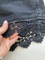 Forever 21 Cutoffs Denim Jeans Shorts Distressed High Waisted Lace Trim Black 26