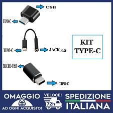 OTG TYPE-C KIT3PZ ADATTATORE DA TYPE-C MICRO-USB JACK 3.5 PER SAMSUNG HUAWEI🇮🇹