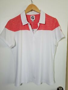 1 NWT FOOTJOY WOMEN'S POLO, SIZE: LARGE, COLOR: WHITE/RED HEATHER (J131)