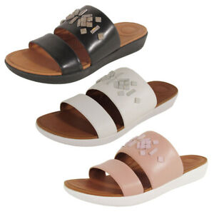 Fitflop Womens Delta Leather Slide Crystal Sandal Shoes