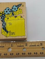 Gift Tag Rubber Stamp Birthday To From Hero Arts Surprise package E632