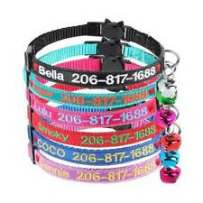 Custom Embroidered Personalized Cat Collar breakaway safety With Bell, ID name