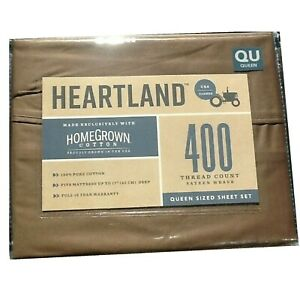 Brown QUEEN Sheet Set Heartland 400 TC 100% HomeGrown Cotton Sateen NEW