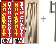 "No Credit Bad Credit ok Rectangle Flag ""3 ft x 12 ft"" With Pole kit- Pack of 2"