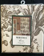 "New WAVERLY Home Fabric SHOWER CURTAIN 72""x72"" Taupe Brown Palm Fern Cotton"