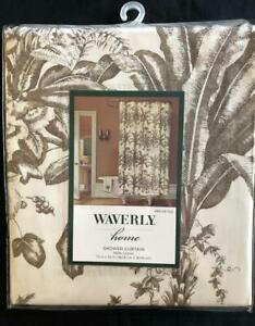 """New WAVERLY Home Fabric SHOWER CURTAIN 72""""x72"""" Taupe Brown Palm Fern Cotton"""