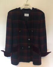 Jobis Navy & Plum Wool Jacket with Velvet Cuffs UK12-14 Excellent Condition
