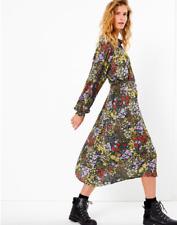 Neue m&s per una Midi Blume Kleid PRINT Sommer Vintage Style Gürtel Taschen Größe 8