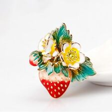 Women Enamel Strawberry Accessories Jewerly Lapel Scarf Pin Brooch